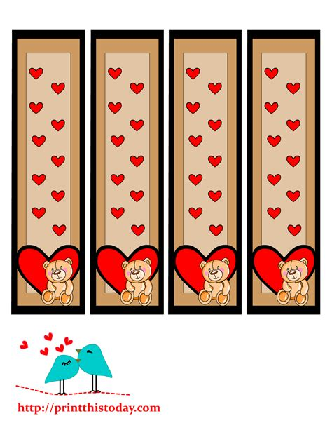 printable heart bookmarks teddy bear bookmarks to print