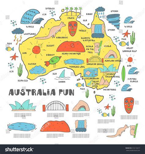 doodlebug australia doodle australia trip infographic stock vector