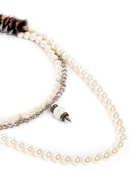 the design effect dba annabel ingall venna marble sphere bead fur trim pearl necklace lyst