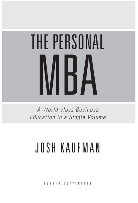 The Personal Mba by The Personal Mba By Josh Kaufman At The Time