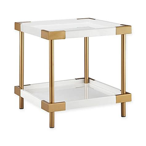 bed bath and beyond warwick madison park warwick end table in white gold bed bath beyond