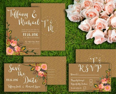 printable wedding invitation set customizable wedding
