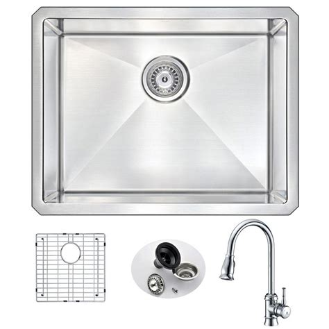 kitchen sink with faucet set anzzi vanguard undermount stainless steel 23 in single