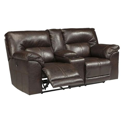 ashley durablend loveseat ashley barrettsville durablend chocolate power loveseat