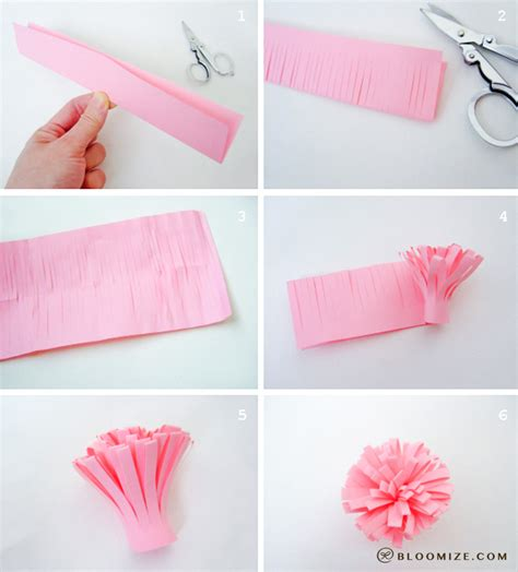 How To Make Small Paper Pom Poms - gift wrap paper pom pom bloomize