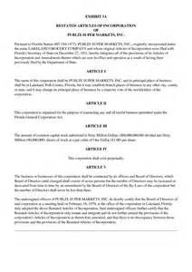 Articles Of Incorporation Florida Sle Florida Llc Articles Of Organization Template