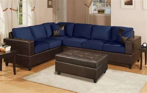 navy sofa set f7637 navy blue sectional sofa set by poundex