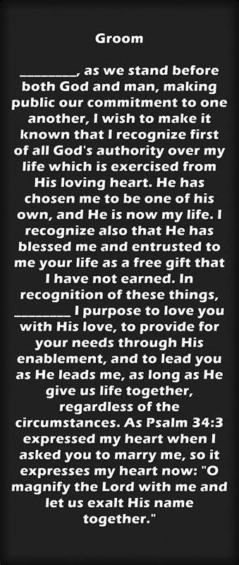 Wedding Bible Vows by Christian Wedding Vows Exles For Groom And