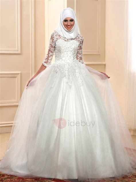 Muslim Wedding Dress by Islam Lace Gown Muslim Wedding Dress With Sleeves