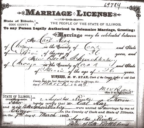 Marriage Records Il Marriage License Of Carl Herz And Bertha Schwichtenberg