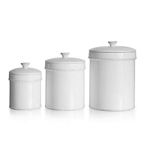 American Atelier 3 Piece Bianca Canister Set In White Bed Bath And Beyond Canister Sets