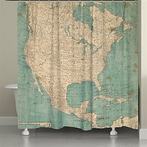 shower curtains map laural home 174 north america map shower curtain in beige