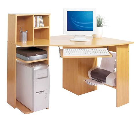 Corner Natural Solid Wood Computer Table With Cd Storage Computer Desk For Small Room