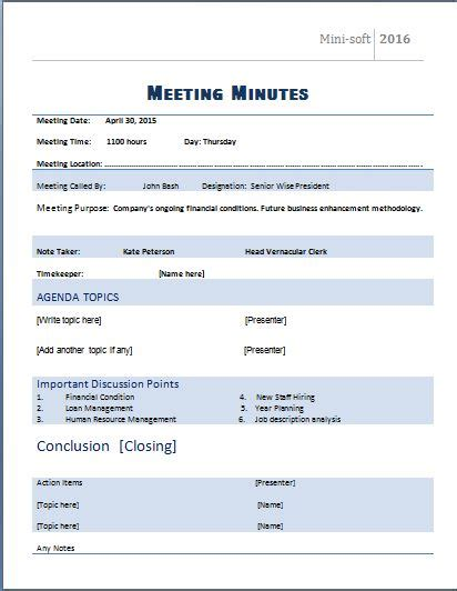 Ms Word Formal Meeting Minutes Template Word Excel Templates Microsoft Meeting Minutes Template