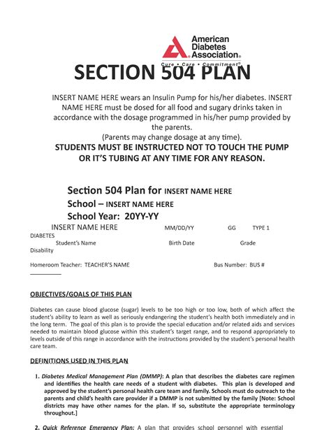 504 Plan Template 2 Diabetes 504 Plan Template Diet Plan