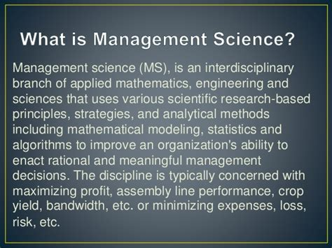 What Is Mba In Management Science by Liner Programming On Management Science