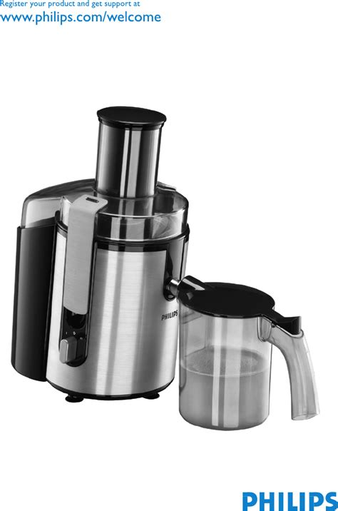 Juicer Philip philips juicer hr1861 user guide manualsonline