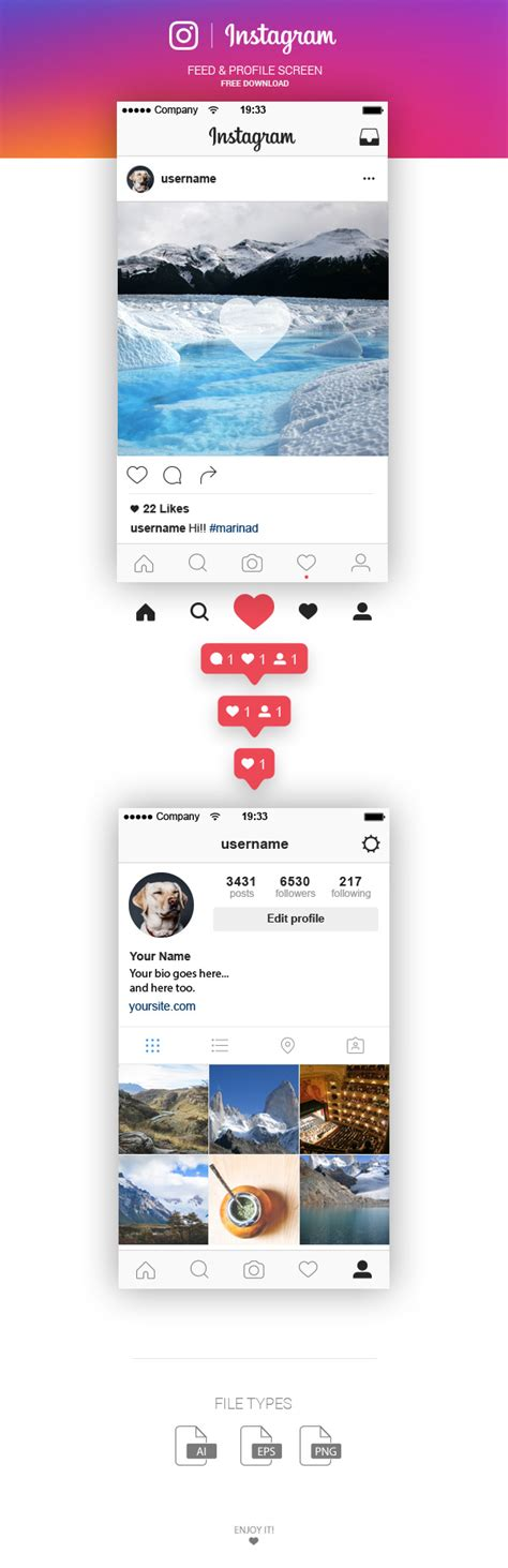 instagram the new ui icon and all the elements you want free instagram feed and profile screen ui 2016 marinad