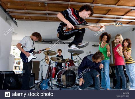 band garage free of teenagers in garage band stock