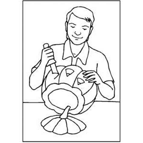 pumpkin carving coloring pages man carving pumpkin coloring page