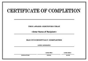 free printable certificate of completion template search