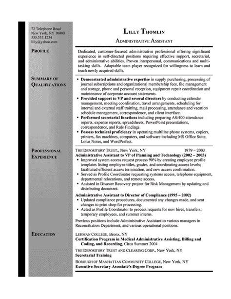 Administrative Assistant Resume Sle Bullets administrative assistant resume sle 28 images sle resume office assistant 28 images office