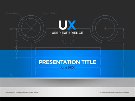 Blue And Silver Ux Powerpoint Cover Page Template In Presentation Cover Page Template