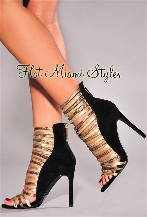 Heels Black List Gold black faux suede gold strappy high heel booties