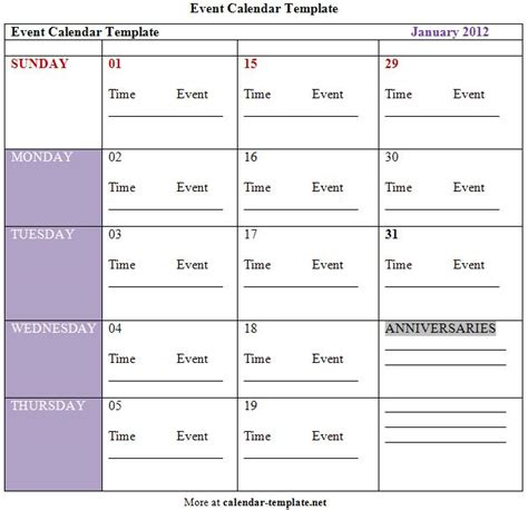events schedule template calender template part 8