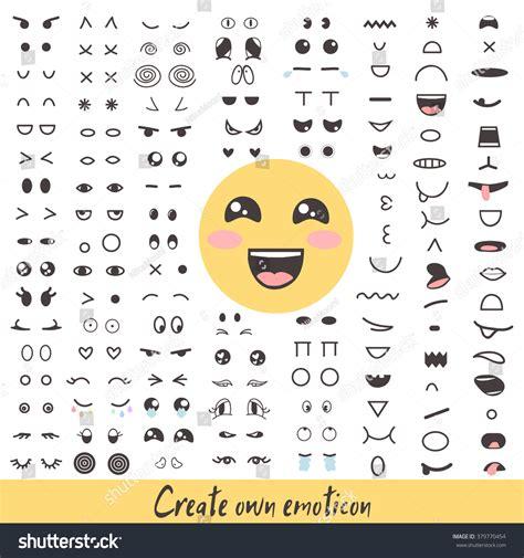 create doodle name maker emoticon creator big collection stock vector