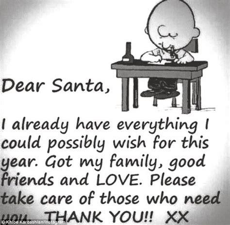 khloe kardashian shares letter  santa gushing  family good friends  love daily