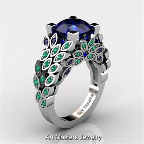 masters nature inspired 14k white gold 3 0 ct blue