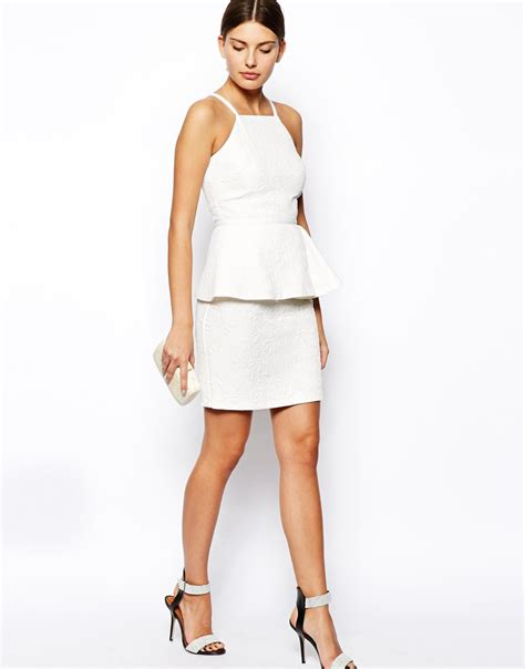 Dress In lyst asos dress with peplum in floral jacquard in white