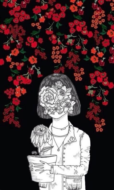 tumblr girl red rose drawing iphone wallpaper