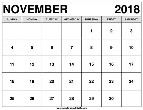 2018 calendar month of november with thanksgiving stock photo
