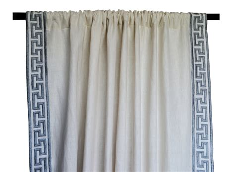 greek key curtains drapes linen curtain drape in greek key gray embroidery ivory greece