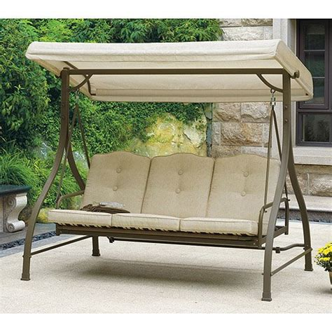 3 seat patio swing with canopy mainstays 3 seat porch patio swing tan relaxing hammock
