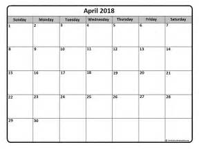 Calendar 2018 By Month April 2018 Calendar April 2018 Calendar Printable