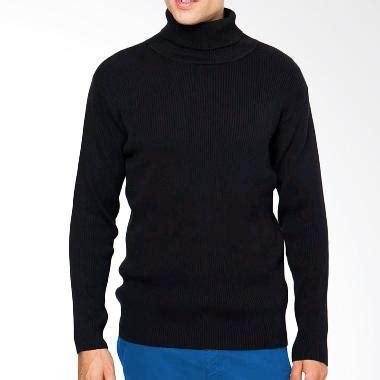 Sweater Rajut Hitam jual sweater rajut krah tinggi panjang hitam harga kualitas terjamin blibli