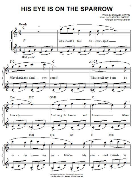 printable lyrics to his eye is on the sparrow his eye is on the sparrow sheet music direct