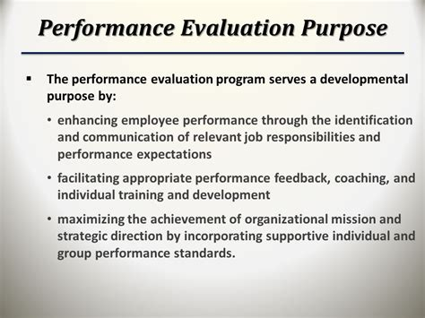 purpose employee evaluation aligning employee performance with agency mission ppt