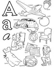 color beginning with a abc alphabet words coloring activity sheet letter a