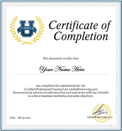 certificate of course completion template linkedin certification linked universitylinked