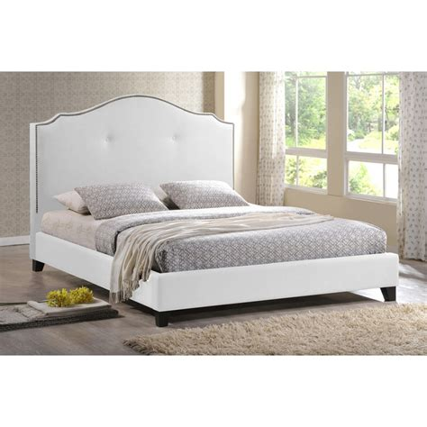 upholstered white headboard marsha scalloped white modern bed with upholstered