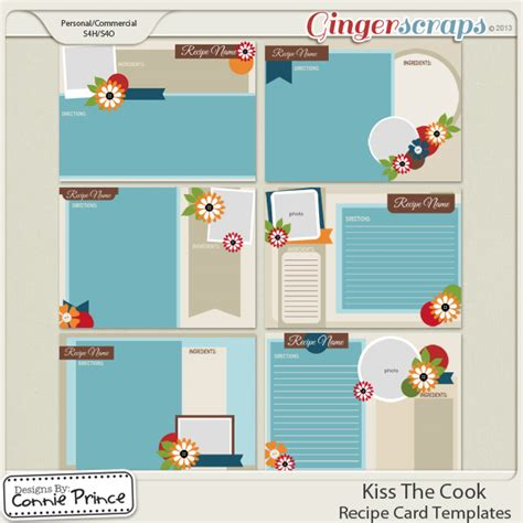 5x7 Recipe Card Template by Gingerscraps Embellishments Retiring Soon The