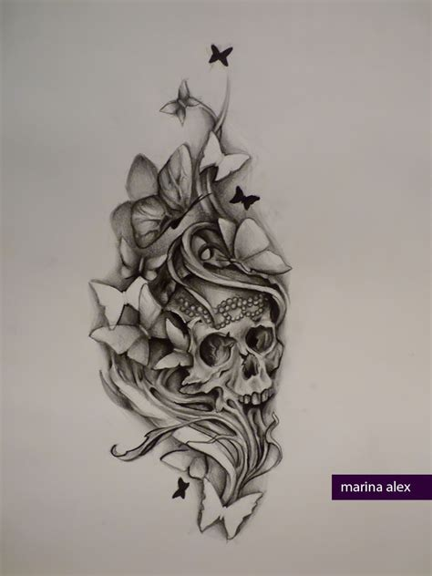 skull butterfly rose tattoo skull and butterflies design idea for the cover