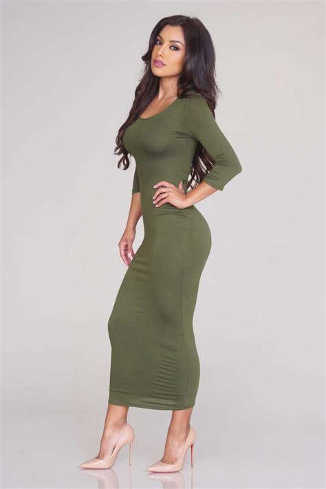 al longdress olive three quarter sleeve midi dress olive dresses