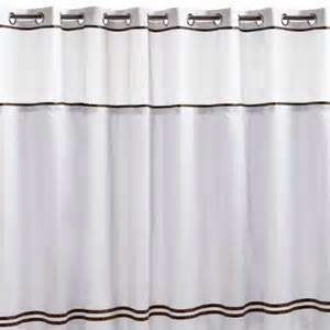 hookless fabric shower curtain white and brown in shower
