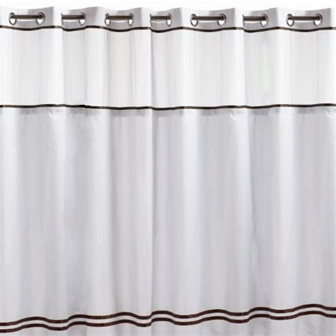 brown shower curtain rings hookless fabric shower curtain white and brown in shower