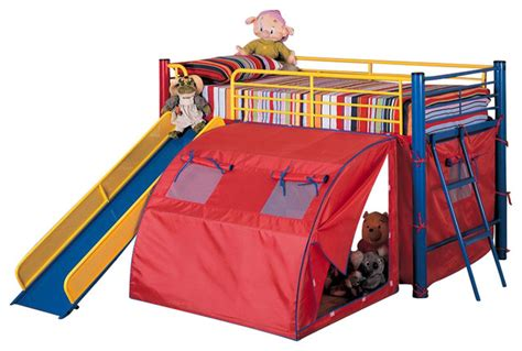 Bed Tent For Bunk Bed Coaster Metal Loft Bunk Bed With Slide And Tent Transitional Beds By Cymax
